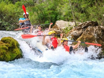 River rapids on the rafting